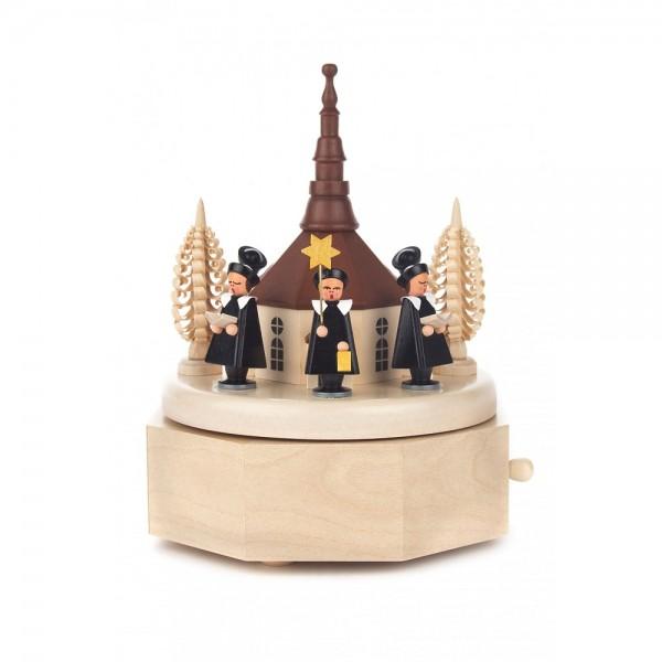 Dregeno Erzgebirge - Spieldose mit Seiffener Kirche und farbiger Kurrende, 18-stimmiges Spielwerk