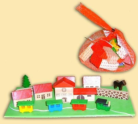 Ebert Spielbeutel Dorf mit Bahnhof 14 Teile