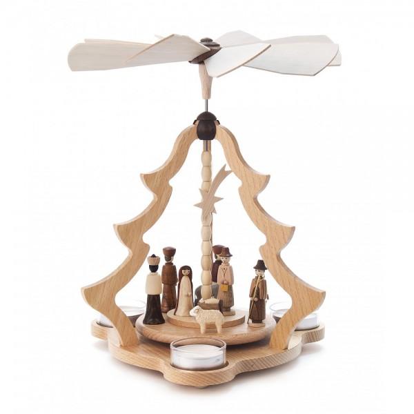 Dregeno Erzgebirge - Pyramide klein mit Christi Geburt, für Teelichter - 26cm