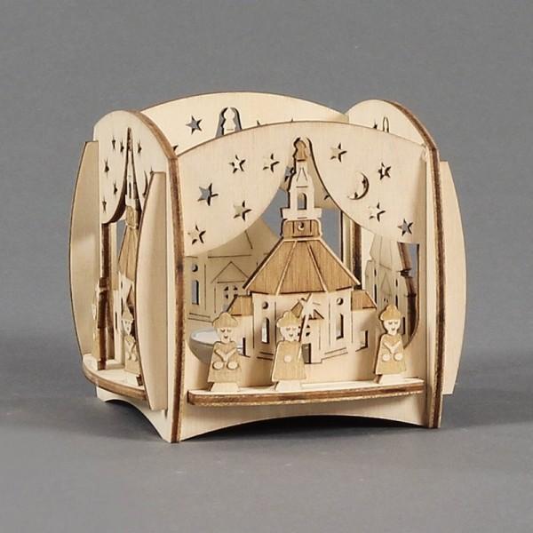 Dregeno Erzgebirge - Teelichthalter mit 3D-Motiv Seiffener Kirche und Kurrende