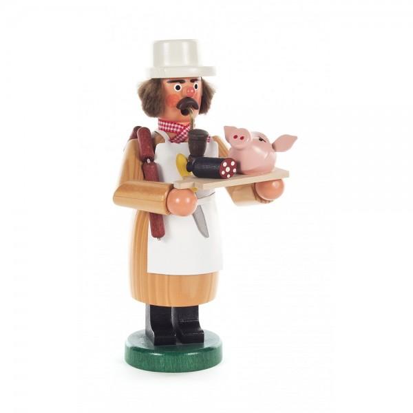 Dregeno Erzgebirge - Räuchermann Fleischer mit Schweinskopf - 18cm