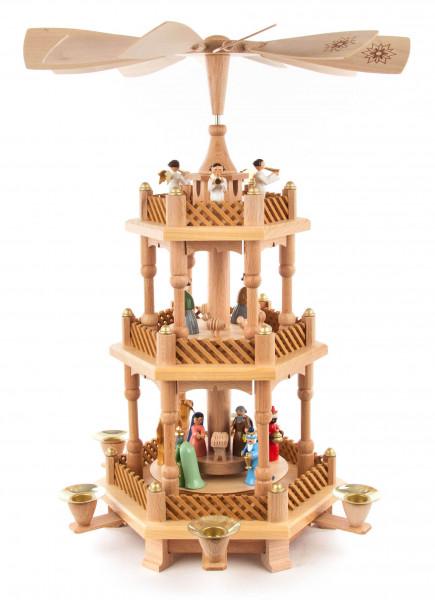 Dregeno Erzgebirge - Pyramide mit Christi Geburt, farbige Figuren, für Kerzen Ø 17mm