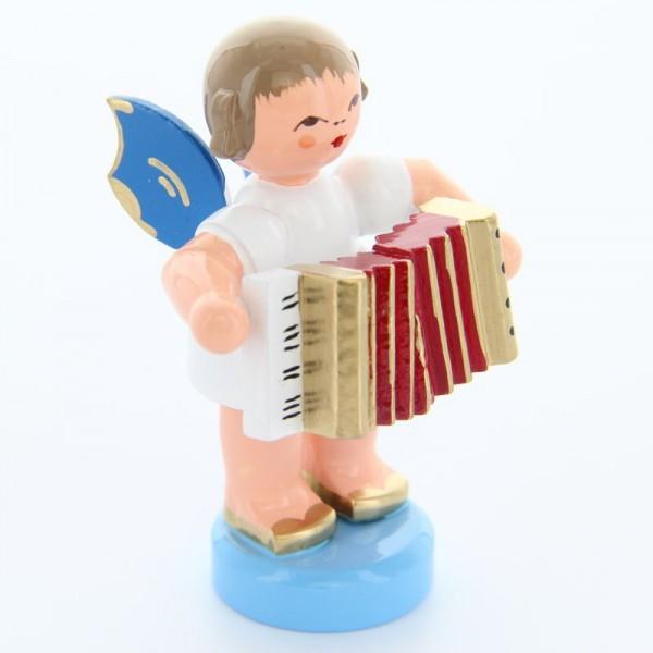 Uhlig Engel stehend mit Akkordeon, blaue Flügel, handbemalt