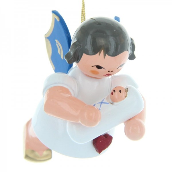 Uhlig Schwebeengel mit Baby Junge, blaue Flügel, handbemalt