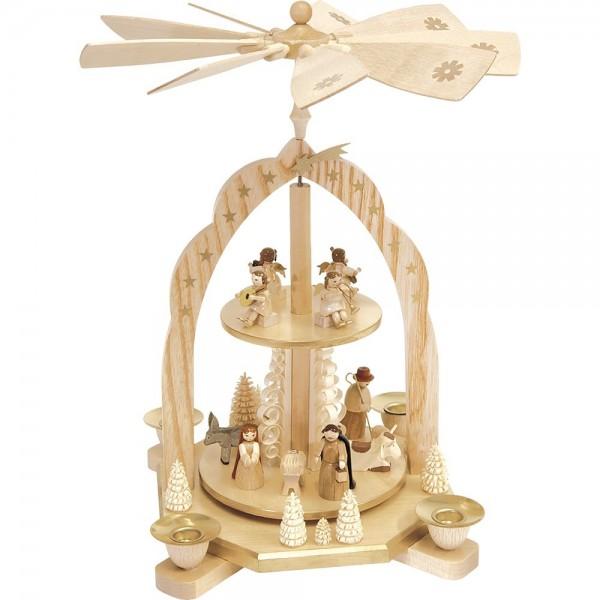Richard Glässer Erzgebirgspyramide Geburt mit Engeln 2-stöckig 31cm