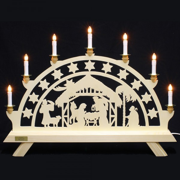 Nehls Schwibbogen - Christi Geburt mit Sterne - 7 Kerzen