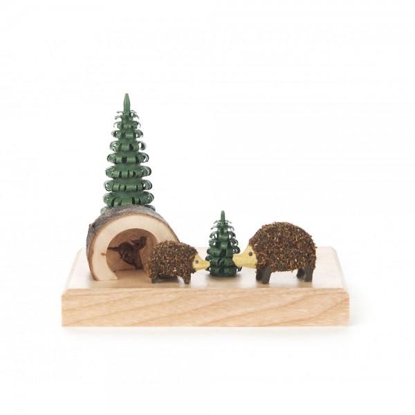 Dregeno Erzgebirge - Kerzenhalter mit Igelfamilie - 7cm