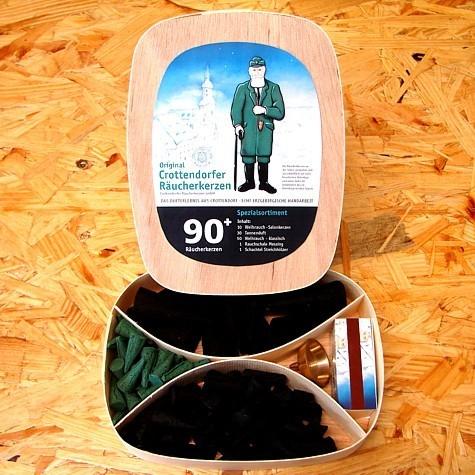 Crottendorfer Spanschachtel mit Räucherkerzen Spezialsortiment 90+