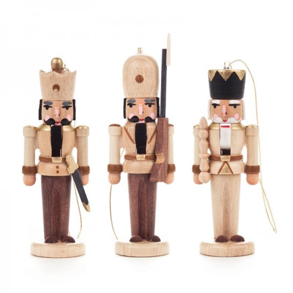 Dregeno Erzgebirge - Miniatur-Nussknacker, hängend, natur, 3 Figuren