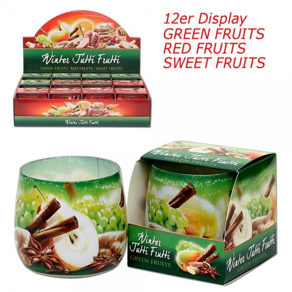 Restposten - Duftglas-3er Set Winter Tutti-Frutti Red Fruits, Green Fruits, Sweet Fruits (GLWT/D-12) 3-fach sort. 7,5 x 7,5 x 7 cm im Set