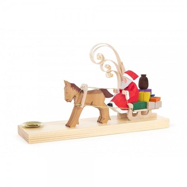 Dregeno Erzgebirge - Schnitzerei mit Lichtertülle - Weihnachtsmann mit Pferdeschlitten - 11cm