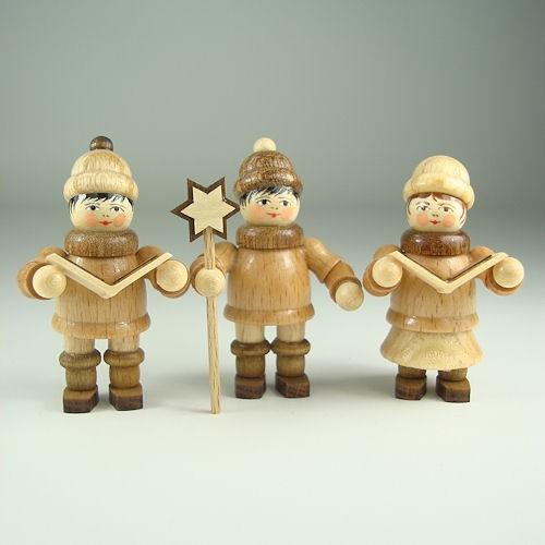Lenk & Sohn Gedrechselte Holzfigur Erzgebirge Weihnachtskinder Kurrendesänger