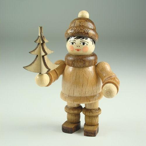 Lenk & Sohn Gedrechselte Holzfigur Erzgebirge Weihnachtkinder Junge mit Baum