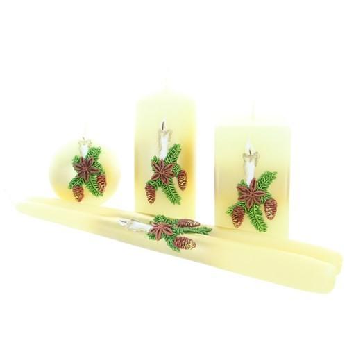 Weihnachtskerze Weiß - Kerzenset mit Kerze - 5-teilig