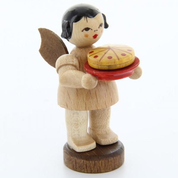 Uhlig Engel stehend mit Torte, natur, handbemalt