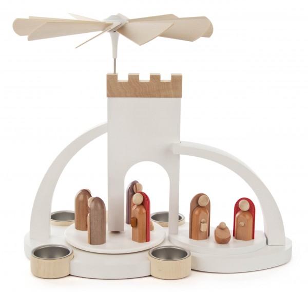 Dregeno Erzgebirge - Pyramide weiß mit Christi-Geburt , Figuren modern, für Teelichte