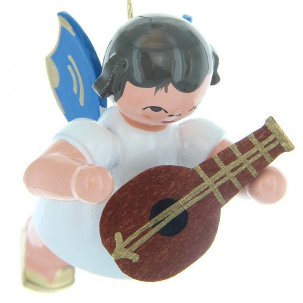 Uhlig Schwebeengel mit Mandoline, blaue Flügel, handbemalt