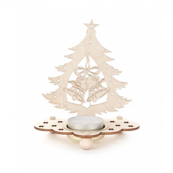 Dregeno Erzgebirge - Teelichthalter Baum Motiv Glocken - 12cm