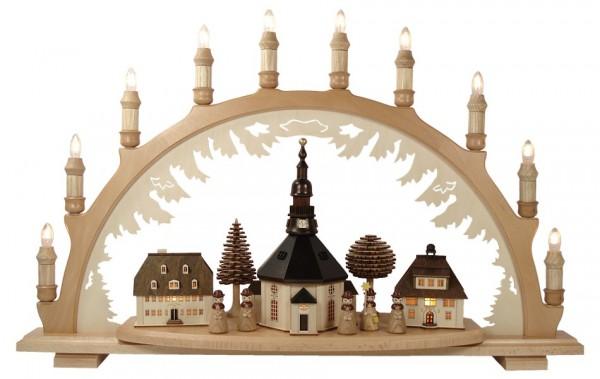 Lenk & Sohn Schwibbogen Erzgebirge 1-fach, 10-flammig Seiffener Kirche mit Kurrende natur