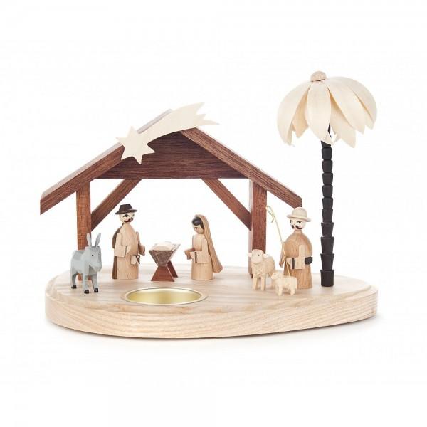 Dregeno Erzgebirge - Teelichthalter mit Christi Geburt - 12cm