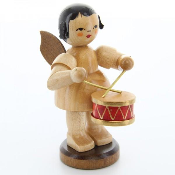 Uhlig Engel groß stehend mit Trommel, natur, handbemalt