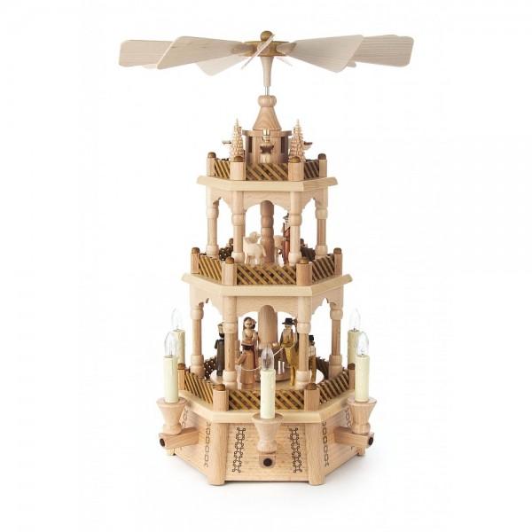 Dregeno Erzgebirge - Pyramide 3-stöckig mit Christi Geburt, Figuren natur, elektrisch - 45cm