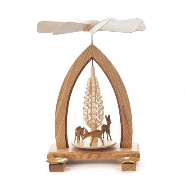 Dregeno Erzgebirge - Pyramide mit Spanbaum und geschnitzte Rehe, für Kerzen - 25cm