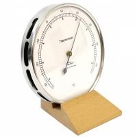 Fischer Präzis Thermometer im Edelstahlgehäuse mit Holzfuss Buche