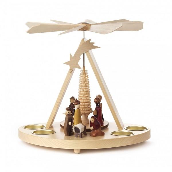 Dregeno Erzgebirge - Pyramide klein Christi Geburt, für Teelichter - 25cm