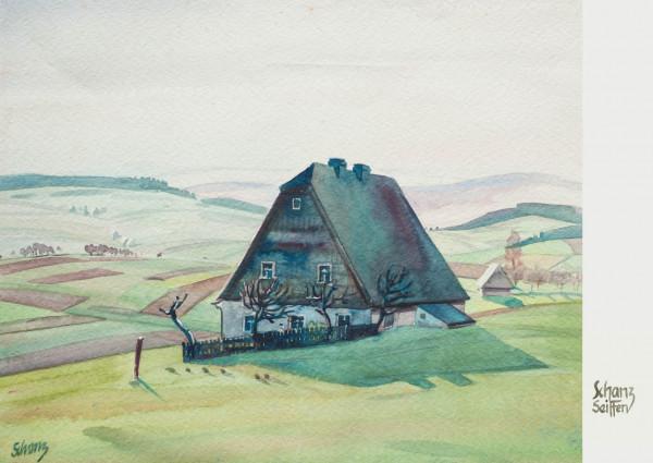Dregeno Erzgebirge - Künstlerkarte Max Schanz »Farben des Gebirges«, Erzgebirgshaus