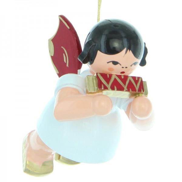 Uhlig Engel schwebend mit Mundharmonika, rote Flügel, handbemalt