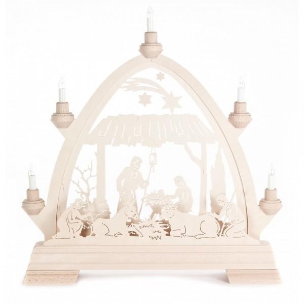 Dregeno Erzgebirge - Gotischer Bogen mit Christi Geburt - elektrisch beleuchtet
