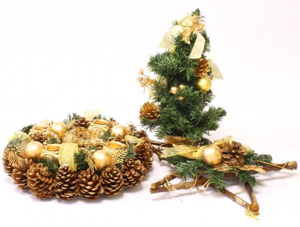Restposten - Große Weihnachtsdekoration mit Adventskranz Weihnachtsbäumchen und Weihnachtsstern