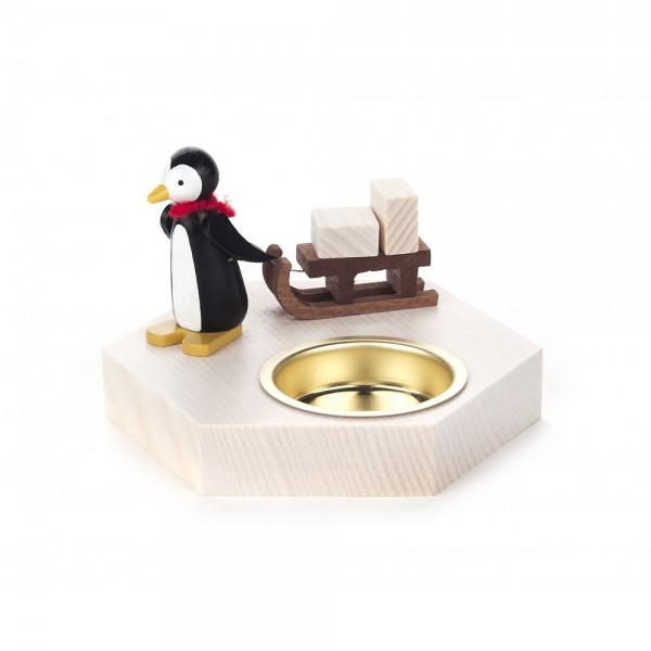 Dregeno Erzgebirge - Teelichthalter Pinguin mit Schlitten