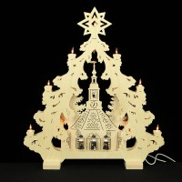 HELA Holzkunst - 2D Lichterspitze Erzgebirge - Seiffen mit Kurrendefiguren