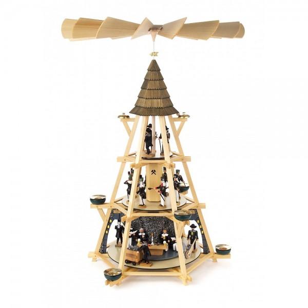 Dregeno Erzgebirge - Göpelpyramide mit Bergbauszenen und Mettenschicht, 3-stöckig - 70cm