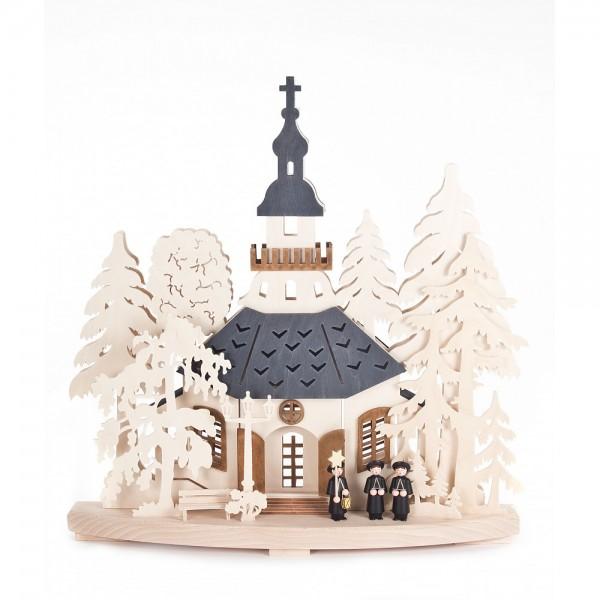 RATAGS - Seiffener Kirche mit Kurrendefiguren - elektrisch beleuchtet