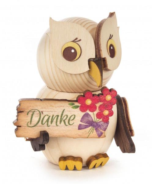 Dregeno Erzgebirge - Mini-Eule mit Schild »Danke«