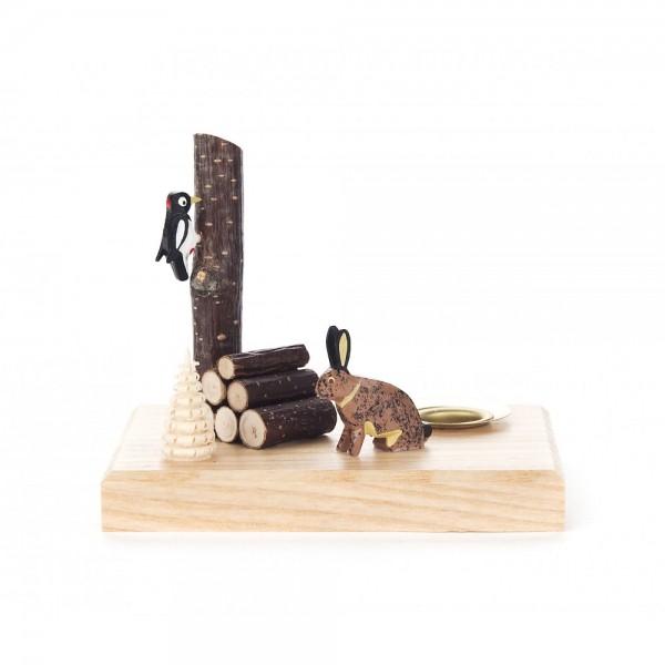 Dregeno Erzgebirge - Kerzenhalter mit Hase und Specht - 8cm