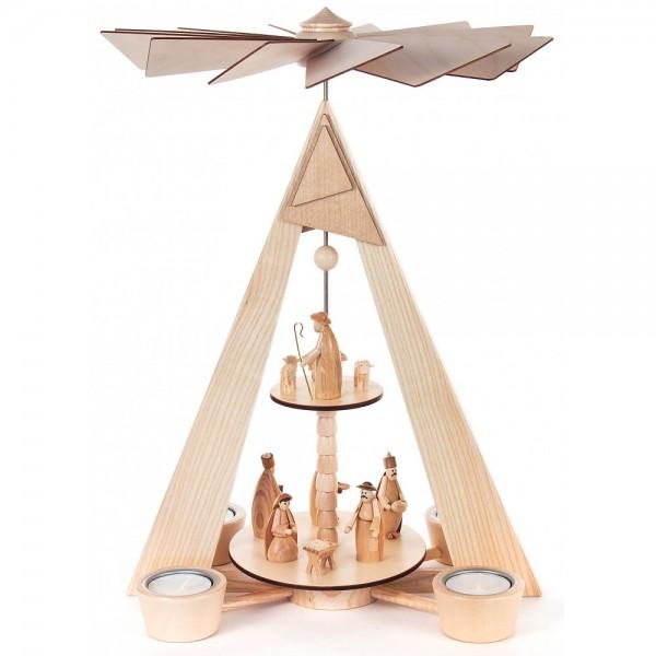 Dregeno Erzgebirge - Pyramide mit Christi Geburt natur 2-stöckig für Teelichte