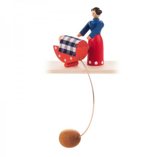 Dregeno Erzgebirge - Miniatur-Schaukelfigur Mutter mit Wiege