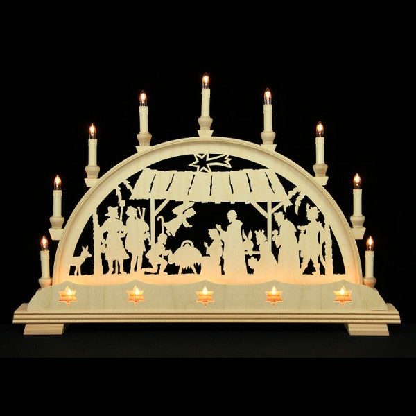 Holzkunst Niederle - Lichterbogen Erzgebirge - Christliches Motiv mit Sternblende