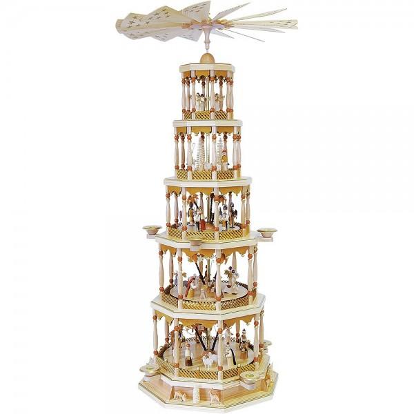 Richard Glässer Erzgebirgspyramide Christi Geburt 5-stöckig natur mit Spielwerk 123cm