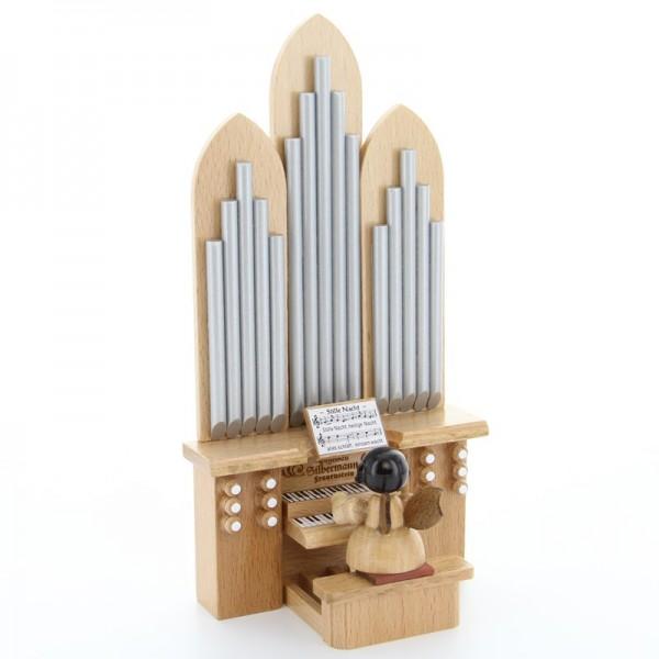 """Uhlig Engel sitzend an der Orgel mit Spielwerk """"O Tannenbaum"""" Kurzfassung, natur, handbemalt"""