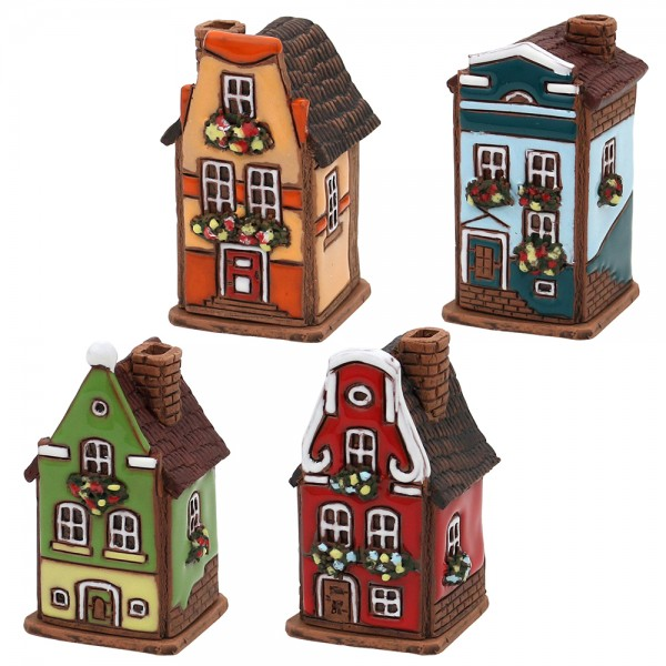 Restposten - Keramik 4er Set Räucherhaus Stadthaus 4-fach sort. 5 x 4,5 x 8 cm