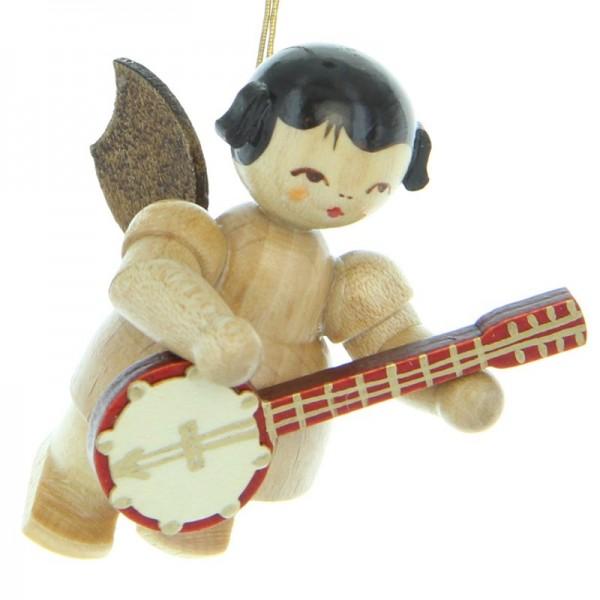 Uhlig Engel schwebend mit Banjo, natur, handbemalt