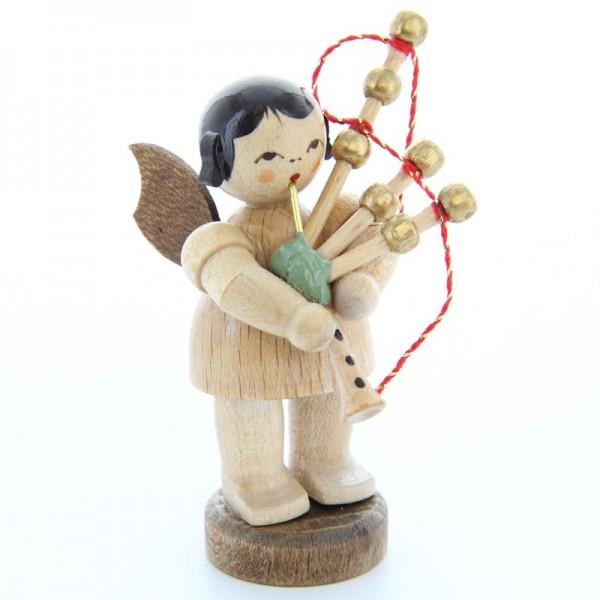Uhlig Engel stehend mit Dudelsack, natur, handbemalt