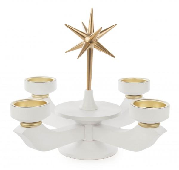 Dregeno Erzgebirge - Adventsleuchter mit Stern weiß klein für Teelichte