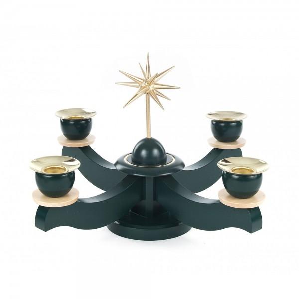 Dregeno Erzgebirge - Adventsleuchter mit Stern, ohne Bestückung, grün - 19cm