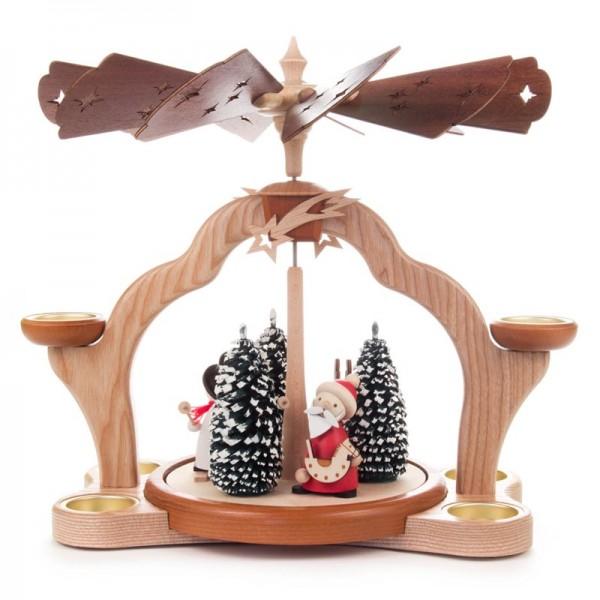 Dregeno Erzgebirge - Pyramide mit Weihnachtsmann, Schneemann und Elch, für Teelichter